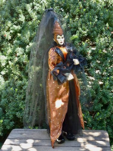 """black witch doll standing orange 25"""" tall"""