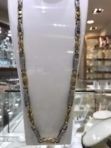2 Tone 10k Gold Versace Chain 34 inches 9 mm 108 gr