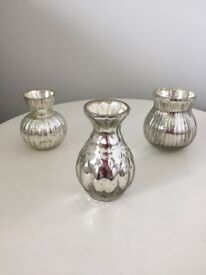Wooden name holders and silver mercury glass vases/tea light holders
