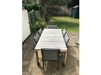 Westminster teak extendible garden table and 6 x Westminster charcoal grey sling armchairs and cover