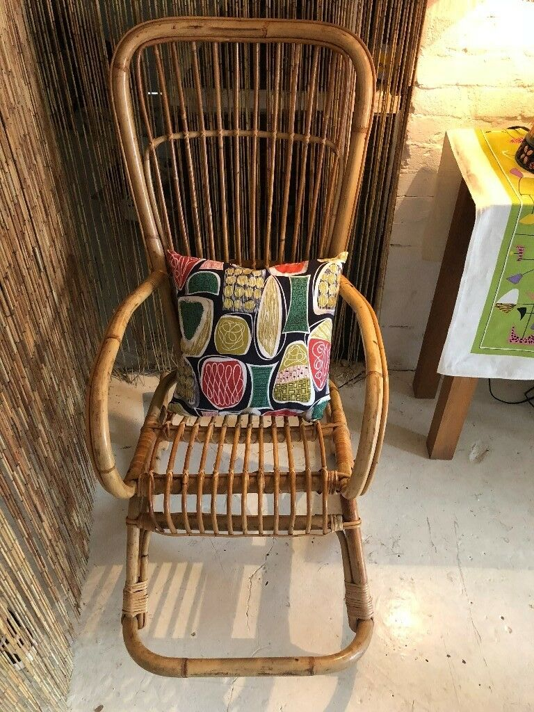 Stunning Vintage Franco Albini Style Cane Wicker Rocking Chair