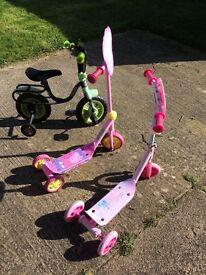 Ben 10 bike and princess scooter