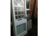 Exterior wooden door with 2 crazed glass panels