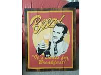 Hand Painted 'Beer!' Sign on Planks of Wood, Man Cave Wall Art