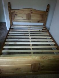 """4 FT 6"""" SOLID PINE BED FRAME & VERY COMFY MATTRESS."""
