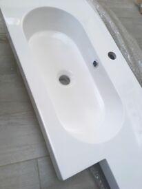 White BRAND NEW, bathroom basin top( left hand )