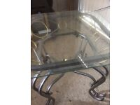 Small glass topped side table