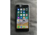 iPhone 6 unlock space grey 16gb good condition but screen smash/crack but work all