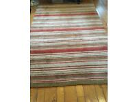 Stripey rug, browns and red, 235 x 160cm