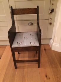 Very pretty and chic, restored antique child's / children's chair. Vintage. Sophie Allport fabric.