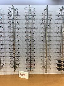 Spectacle frame display bars