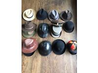 Collection of vintage hats top hat bowler hat Panama 16 vintage hats in total