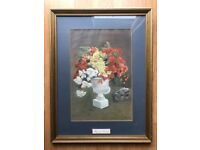 Original Mounted, Framed, Glassed Pastel Flower Painting from 1986 Titled Begonia Pedula