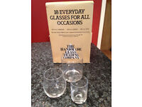 17 (not 18) Everyday glasses great for party, good condition - missing one tumbler - Didsbury area