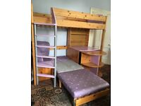 Stompa Cabin Bed- Including single top bunk, desk and futon pull out bed.