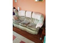 3 Piece Suite (1 sofa and 2 arm chairs), fabric velvet feel as seen in photos