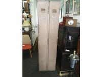 Charming Vintage Industrial Metal Double Locker Workshop Cabinet Cupboard Storage Unit 1961