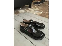 Ladies Kickers Black Patent Leather Flat Shoes!