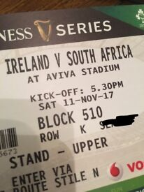 1 ticket for Ireland Vs South Africa rugby match.