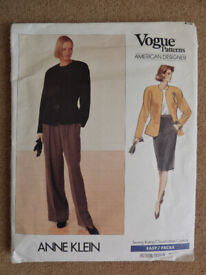 Vogue 2355 Anne Klein 1980's Jacket, Skirt and Pants Sewing Pattern Sizes 6-8-10 American Designer