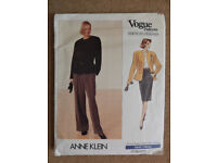 Vogue Anne Klein 1980's Jacket, Skirt and Pants Sewing Pattern 2355 Sizes 6-8-10 American Designer