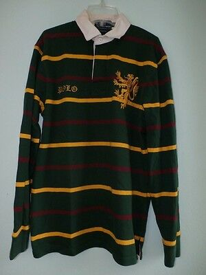 Ralph Lauren Polo Rugby Shirt Men Med Griffin Crest Striped Green Yellow Maroon  Griffin Rugby