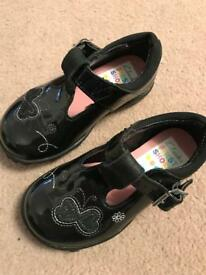 Girls Clarks Lights Shoes Size 4f Black Patent Excellent Condition