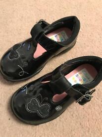 Girls Clarks Lights Shoes Size 4f Black Patent Excellent Condition