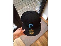 New Era Pittsburgh Black and Neon Blue Flat Peak Cap. Size 7 - 55.8cm