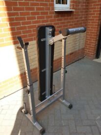 Weight bench with dip bars and weight holders.