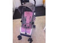 Pink and grey maclaren stroller. Fab condition rain cover included paid 155