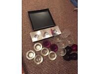 Selection of tea lights & black display plate