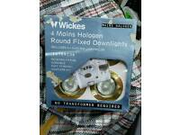 Four halogen round downside bulbs and holder