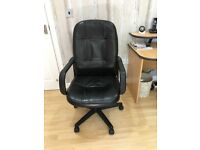 Office chair, executive, Black, leather