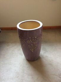 Large purple ceramic vase size 44 cm X 25 cm