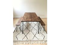 dining table desk wood rustic industrial handmade