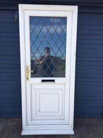 UPVC HALF GLAZED DOOR WITH LEADED GLASS