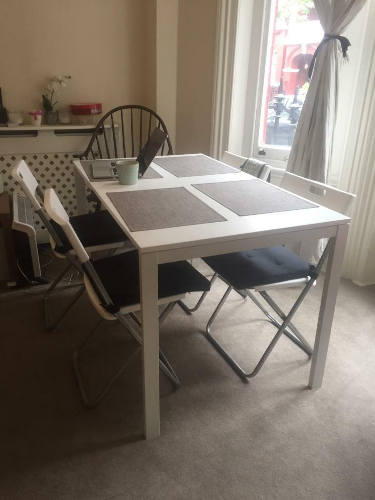 White Dining Table Ikea Melltorp Adde Optional 4 Grey Mats