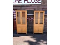 Pair of Morris of Glasgow solid oak display cabinets * free furniture delivery *