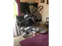 Oyster Max Tandem Double Pram & Car Seat with stroller and carrycot