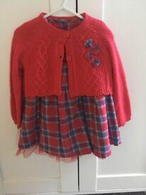 Tartan dress and cardigan set