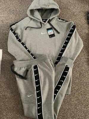 Nike New Man's Repeat Tape Fleece Hooded Hoodie Full Tracksuit