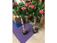 2 x artificial Bay trees, with lights preowned perfect for weddings