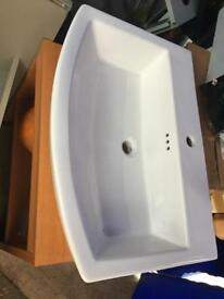 Large wash stand with basin and small shelving