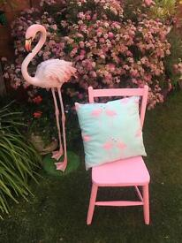 Pink vintage school chair & cushion