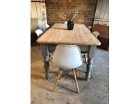 Rustic pine farmhouse kitchen dining table large 6 seater