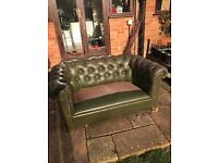 Chesterfield 2-seater dark olive green leather