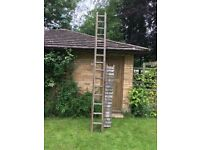 Wooden Decorators Ladder two part with Platform 4m extends to 6m