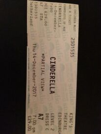 "2 x Dress Circle Tickets for Edinburgh Kings Theatre Panto ""Cinderella"" on 14/12/17 at 7pm"