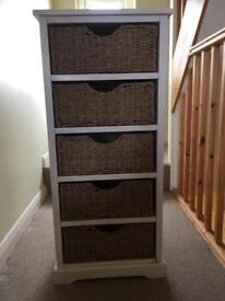 Wooden Drawer Unit, Wicker Drawers